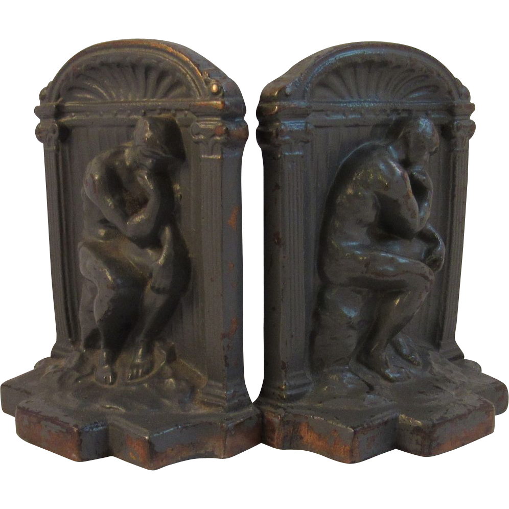 Vintage Cast Bronze Thinker Bookends