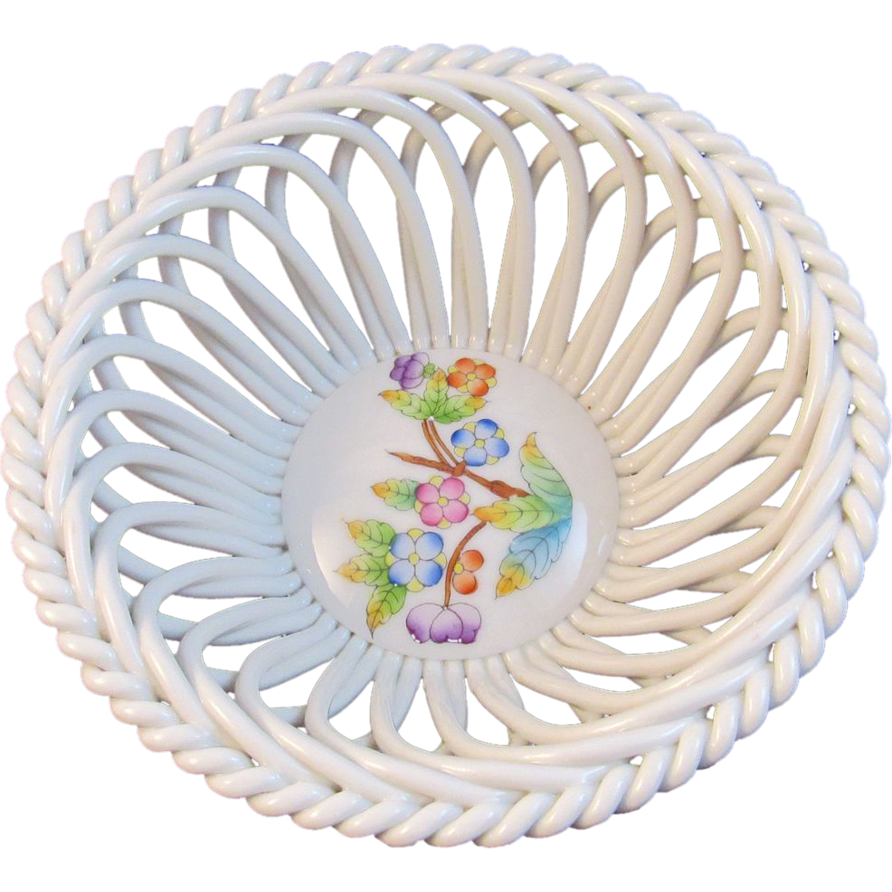 Herend Handpainted Openwork Reticulated Basket Small Floral Bowl