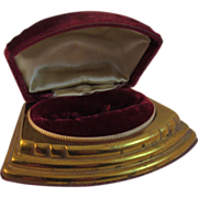 Art Deco Red Velvet and Gold Ring Box