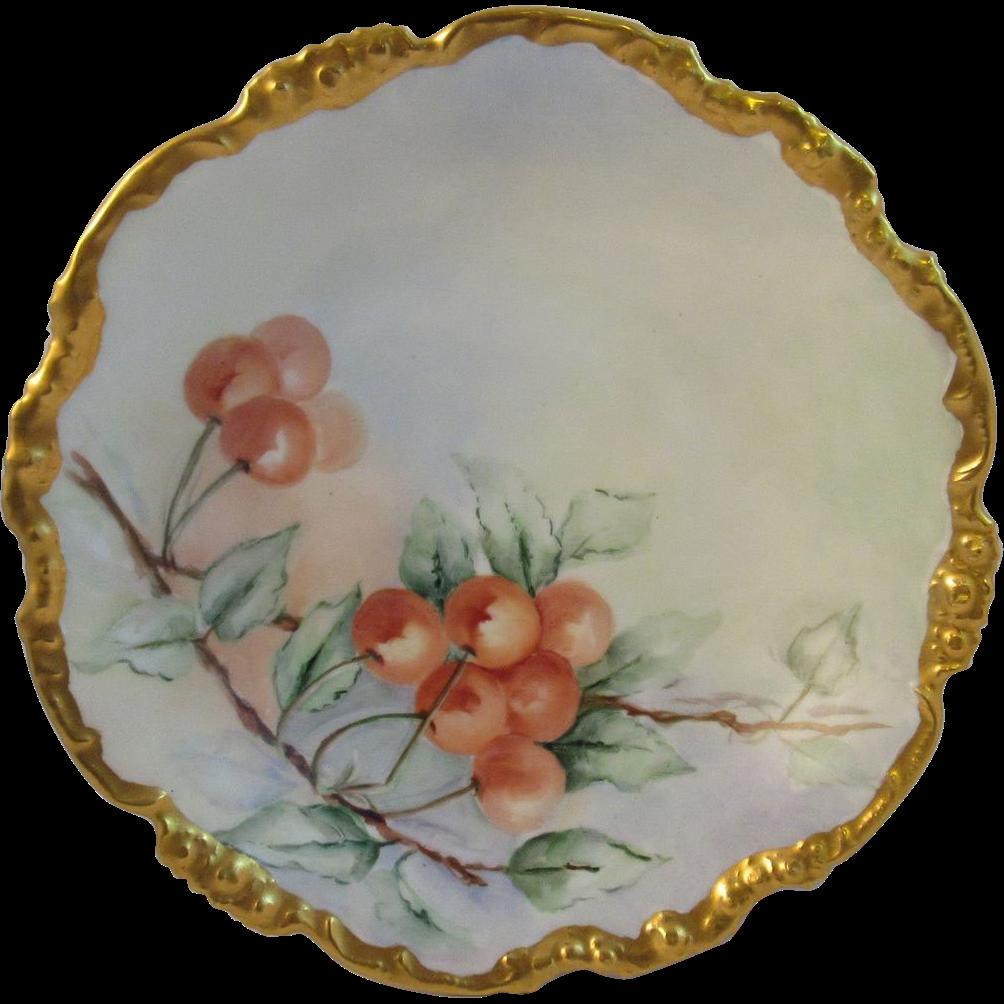 Lovely JPL Handpainted Cherries Bowl Jean Pouyat Limoges