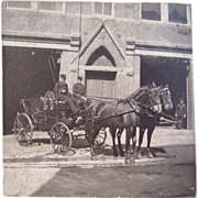 Original Photo of a Horse Drawn Fire Hose Carriage