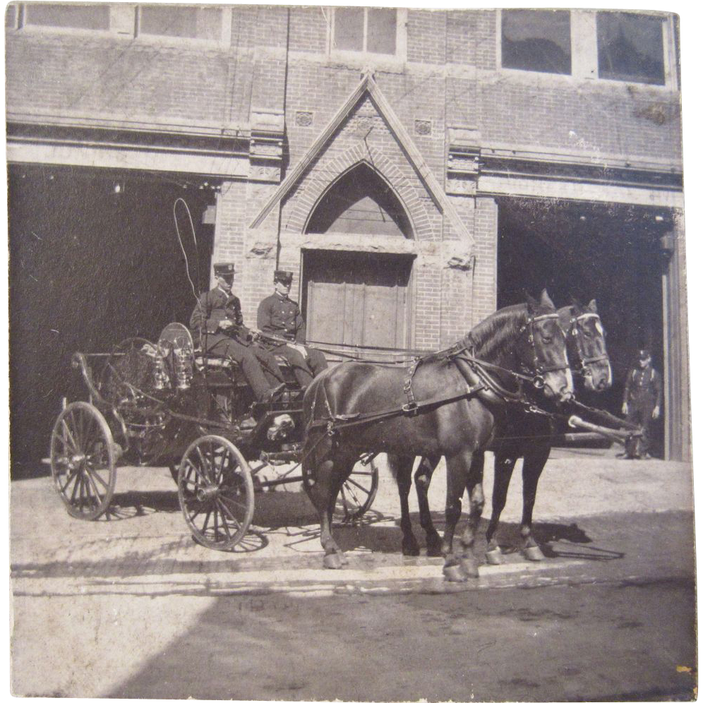 Original Photo of a Horse Drawn Fire Hose Carriage
