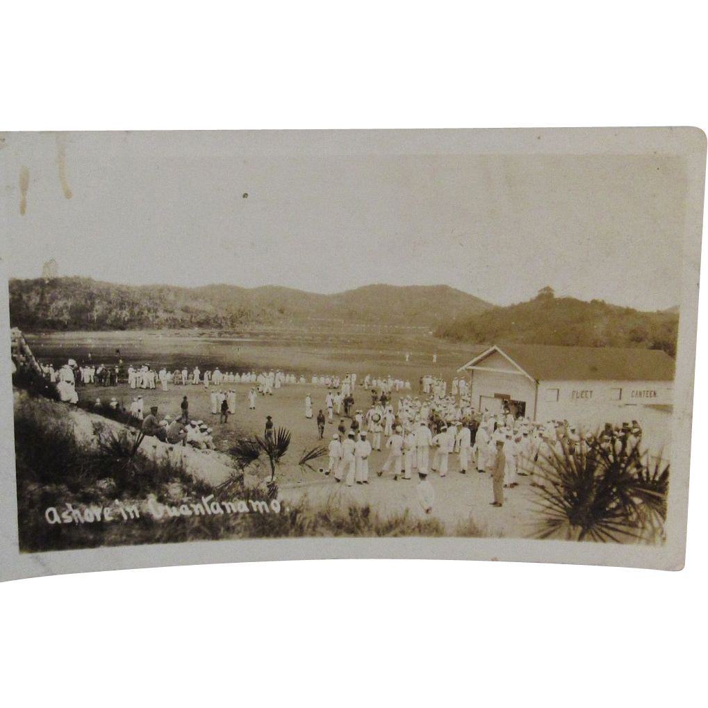 RPPC Ashore in Guantanamo Military Naval Camp Real Photo Postcard