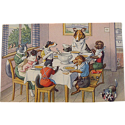 Alfred Mainzer Dressed Cats Postcard Max Kunzli Illustrated Zurich, Switzerland Cats & Dogs at Dinner - Red Tag Sale Item
