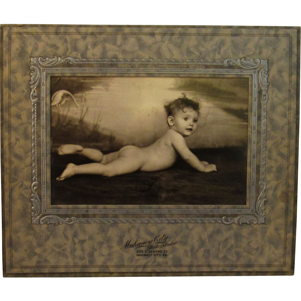 Art Deco Framed Photograph of a Baby in the Buff