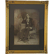 1900's Fireman Portrait in an Ornate Golden Frame
