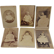 6 Victorian Baby Cabinet Card Photographs