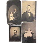 Four Tin Types - Baby, Father and Daughter, Gentleman, Young Woman