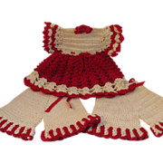Vintage Hand Crocheted Doll Clothes Dress & Bloomers