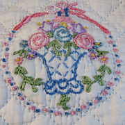 Vintage Hand Stitched & Embroidered Baby Quilt Scalloped Edges