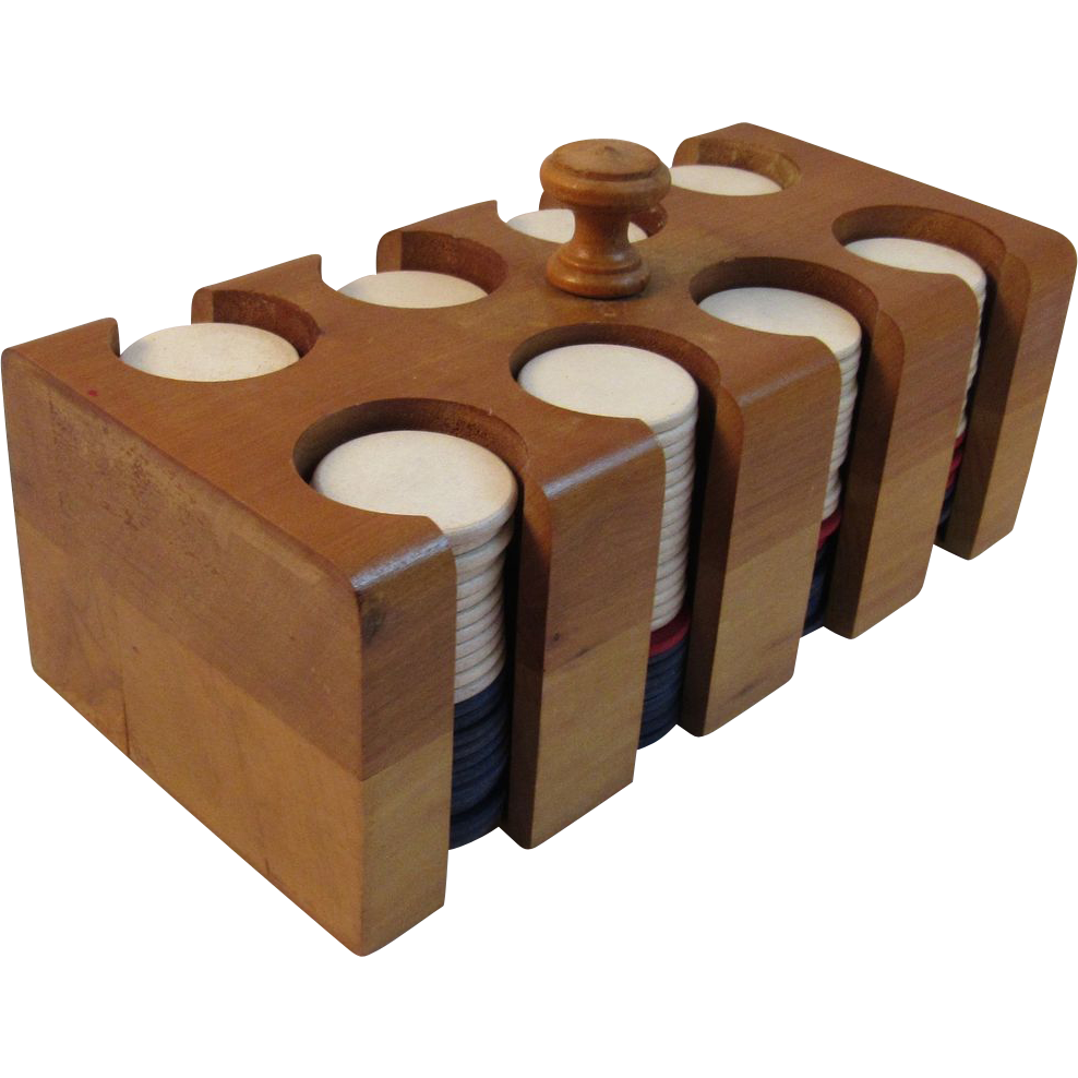 Vintage Wooden Poker Chip Case