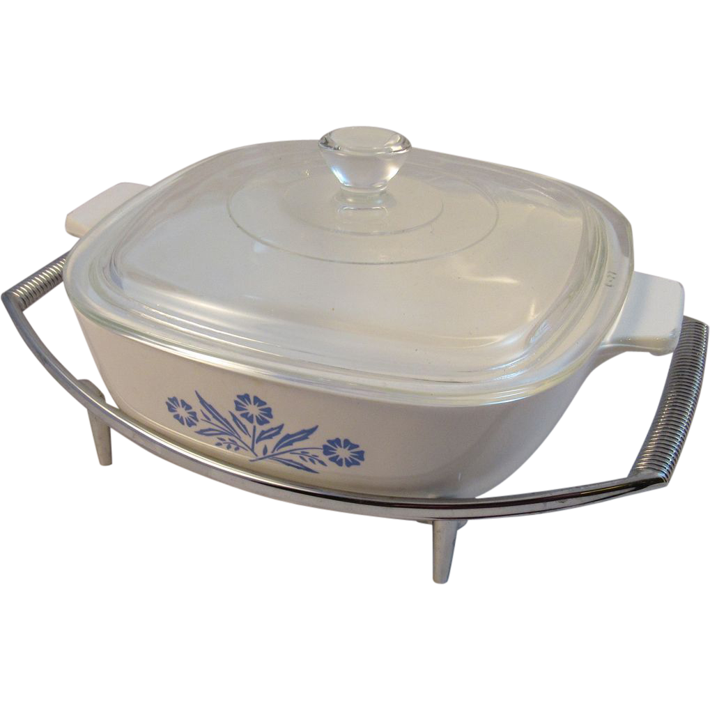 Corning Ware Cornflower Blue 1 Quart Casserole on Chrome Stand
