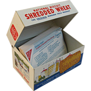 Vintage National Biscuit Shredded Wheat Tin Recipe Box Nabisco
