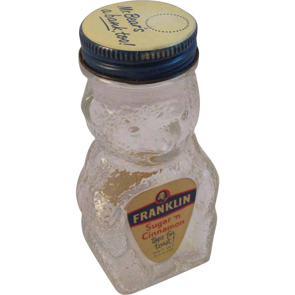 Vintage Glass Bear Banks - Franklin Sugar 'n Cinnamon Kitchen Kitchenware