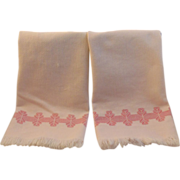 2 Vintage Pink Fringed Embroidered Tea Towels