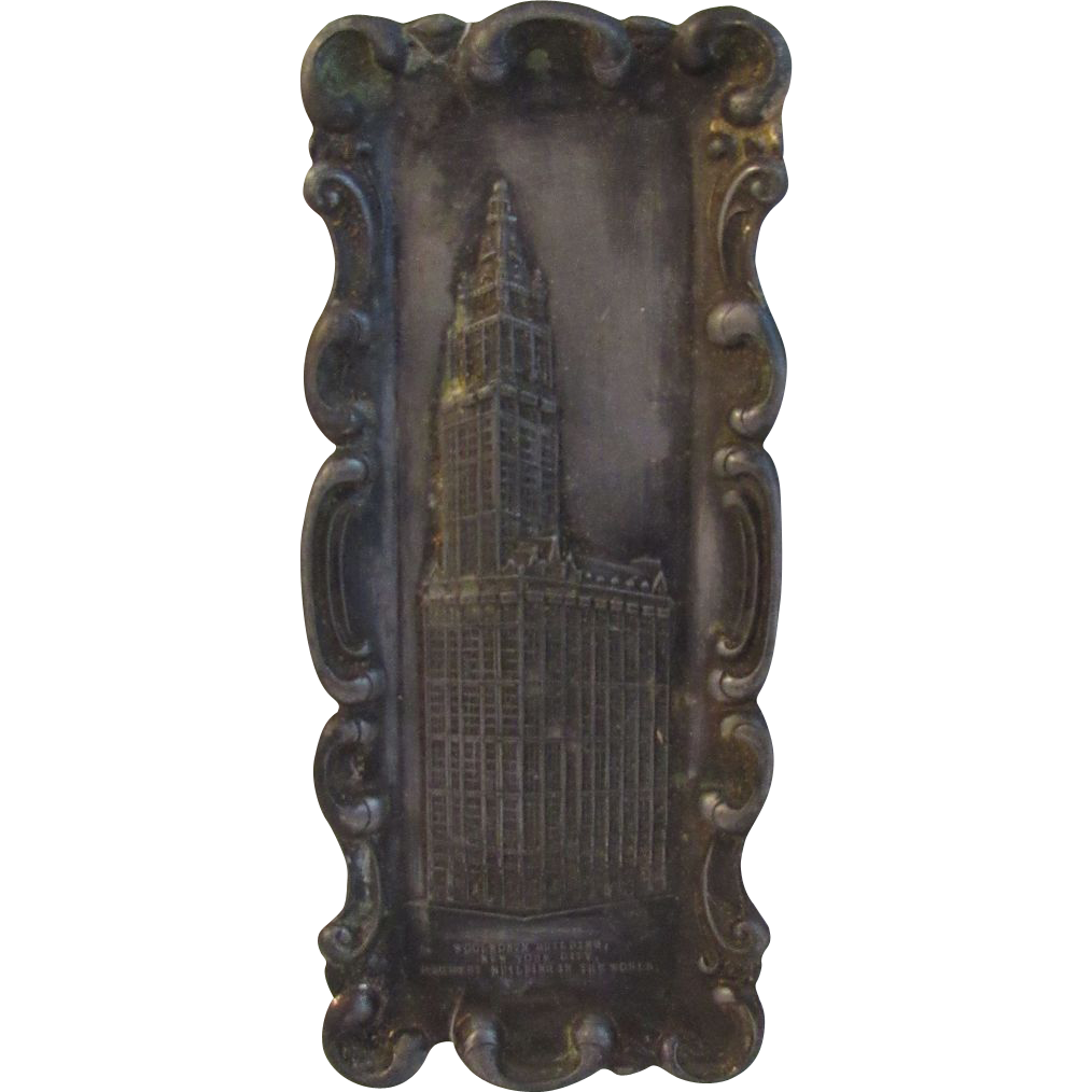 Vintage 1911 Souvenir Pot Metal Woolworth Building Tray