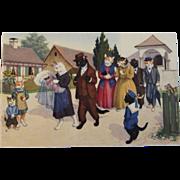 Alfred Mainzer Dressed Cats Postcard Max Kunzli Illustrated Zurich, Switzerland Baby Christening