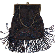 Carnival Glass Bead Fringed Purse with Original Lining