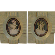 2 Vinage Cameo Creations Oval Miniature Lady Prints