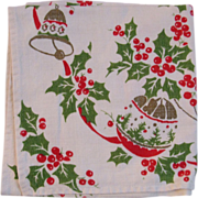 Vintage Christmas Linen Table Runner - Ornaments, Holly & Bells