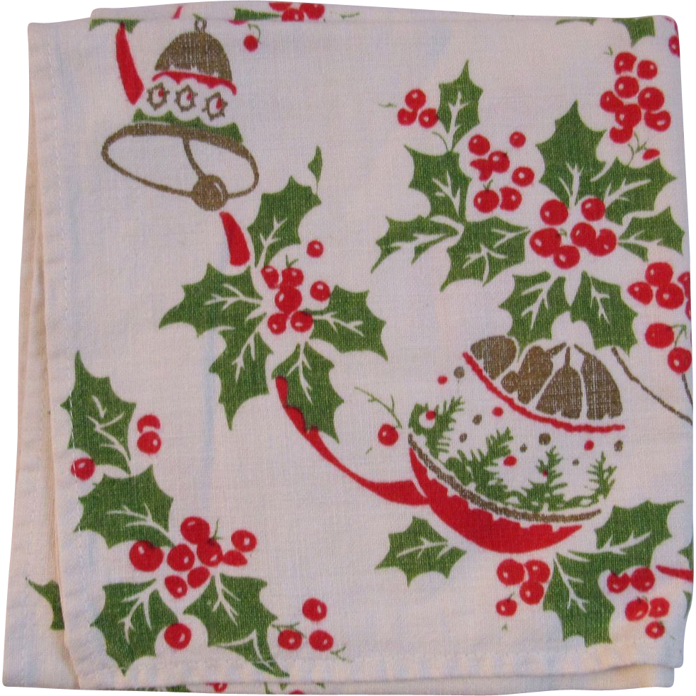 Vintage Christmas Linen Table Runner Ornaments Holly