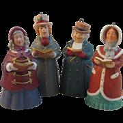 4 Hallmark Porcelain Dickens Christmas Caroler Bell Ornaments
