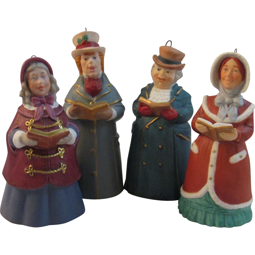 Items Similar To Vintage Santa S Workbench Dickens Choir: 4 Hallmark Porcelain Dickens Christmas Caroler Bell