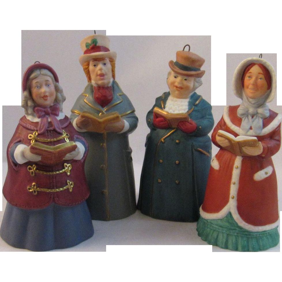 Items Similar To Vintage Santa S Workbench Dickens Choir: 4 Hallmark Porcelain Dickens Christmas Caroler Bell