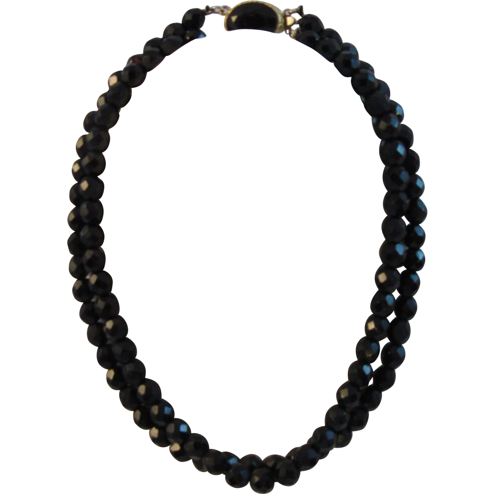 Vintage Black Glass Faceted Bead Double Strand Choker Necklace