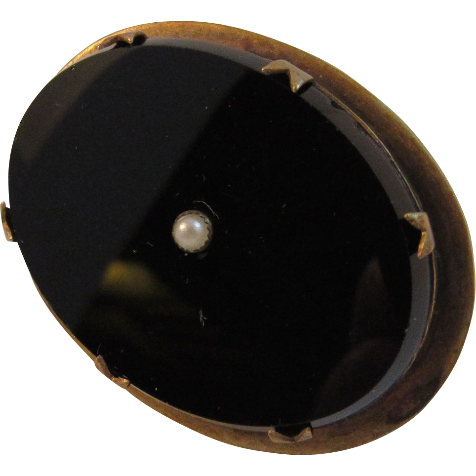 Vintage Black Glass & Brass Pin with Simulated Pearl in the Center