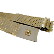 Vintage Gold Tone Metal Stretch Fish Scale Belt