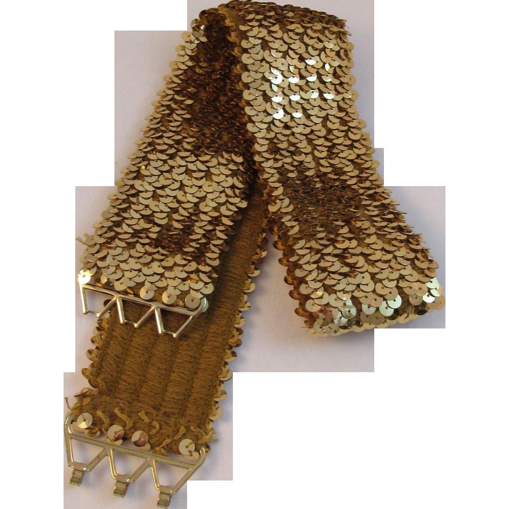 Vintage Gold Sequin Stretch Belt