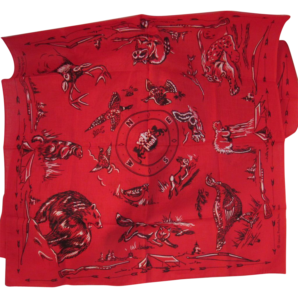 Vintage 1961 Ideal Red Hunting Handkerchief Hankie