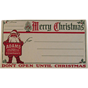 Adams Express Company Santa Claus Merry Christmas Shipping Label