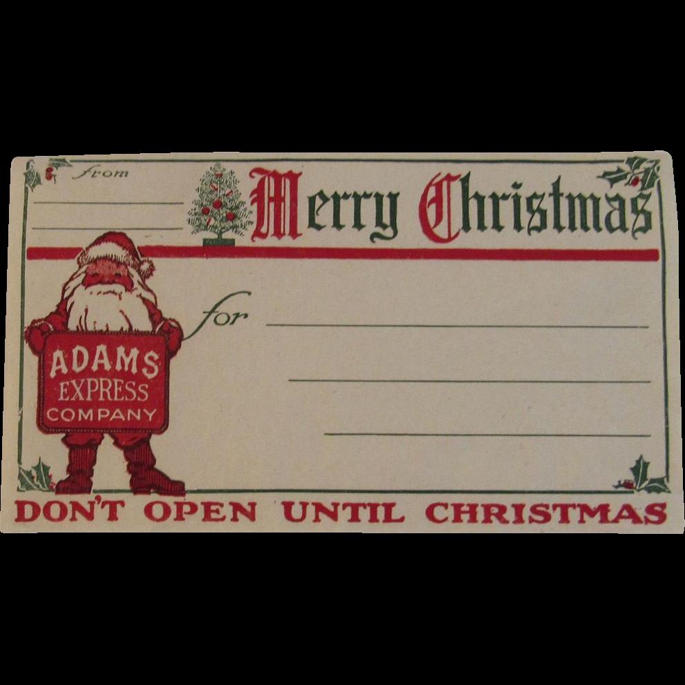 Adams Express Company Santa Claus Merry Christmas Shipping Label