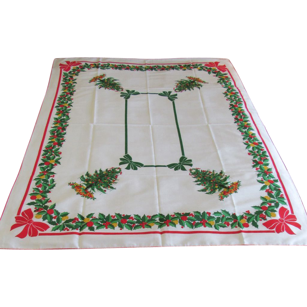 Vintage Christmas Tree Linen Tablecloth
