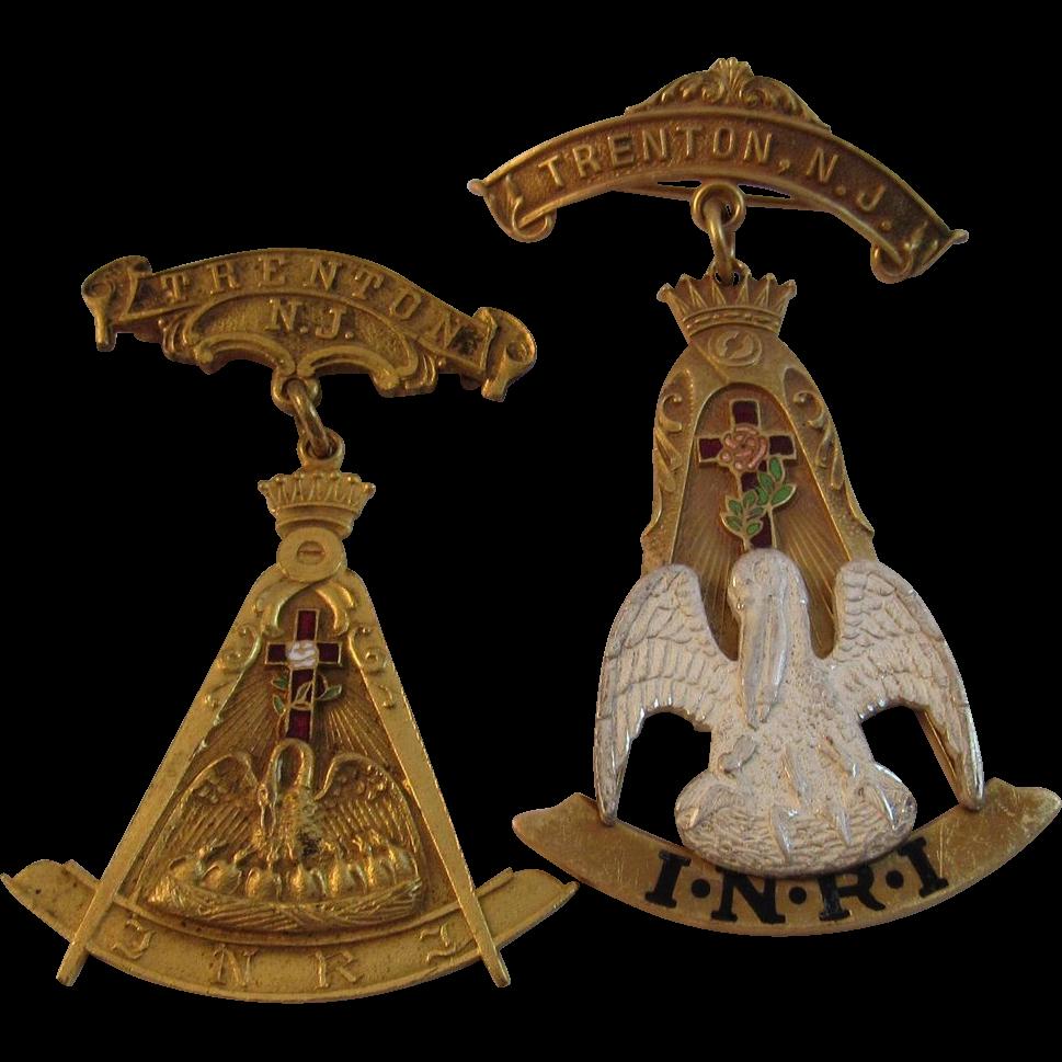 2 Trenton NJ INRI Masonic Fraternal Medallions