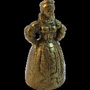 Vintage Figural Brass Bell ~ Elizabethan Lady