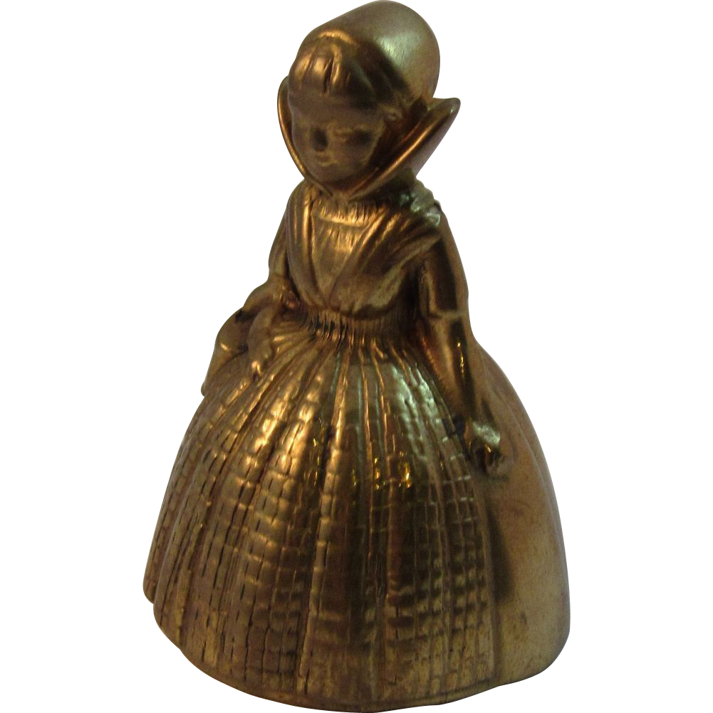 Vintage Figural Brass Bell ~ Little Girl with Basket