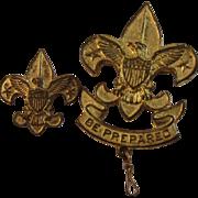 Pair of 1911 Fleur de lis Boy Scout Pins