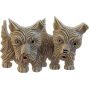 Vintage Double Scottie Dog Mechanical Celluloid Pin