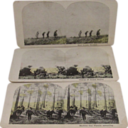 3 WWI World War 1 Stereoview Cards Hand Grenade, Snipers and Machine Gun Platoon