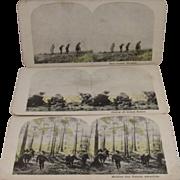3 WWI World War 1 Stereoview Cards Hand Grenade, Snipers and Machine Gun Platoon