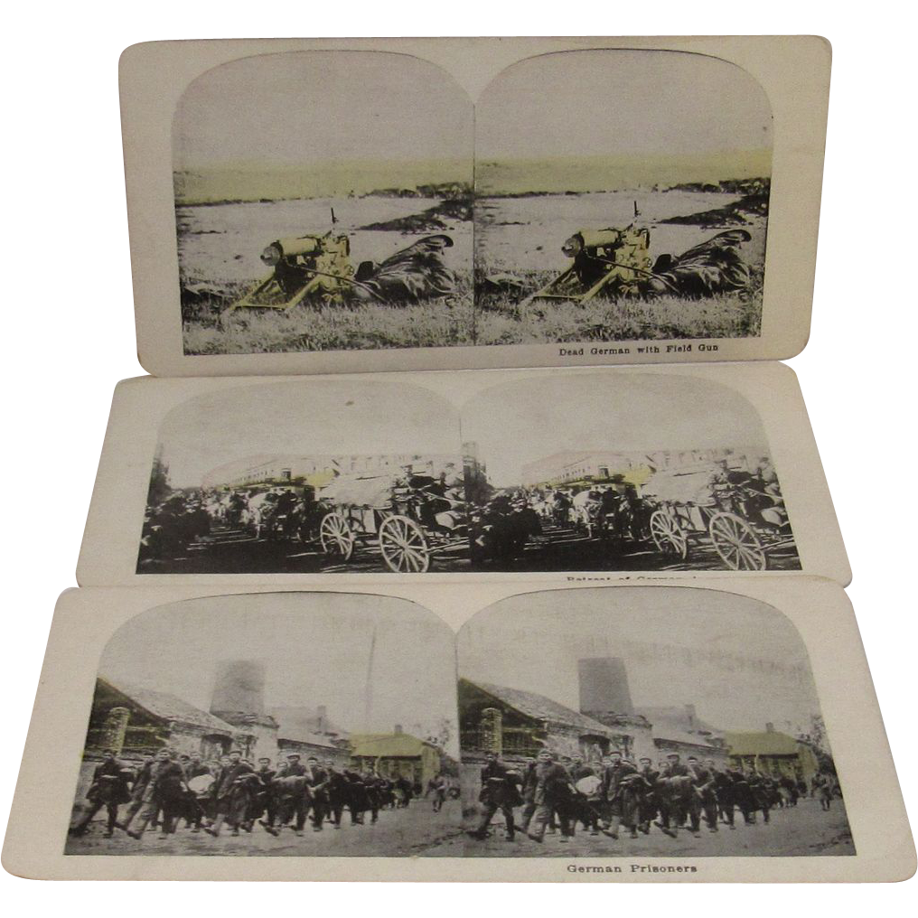3 WWI World War 1 Stereoview Cards German Retreat & Prisoners and Dead German with Gun