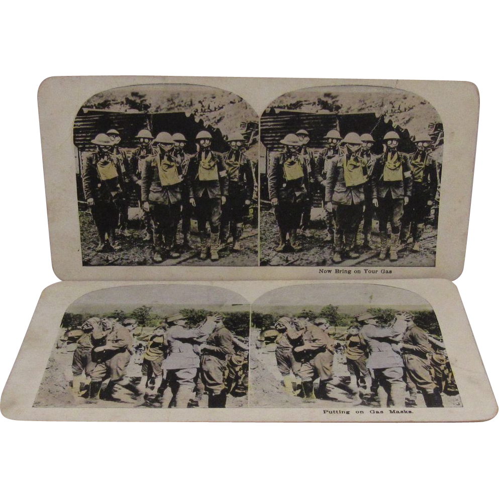 2 WWI World War 1 Stereoview Cards Mustard Gas and Masks