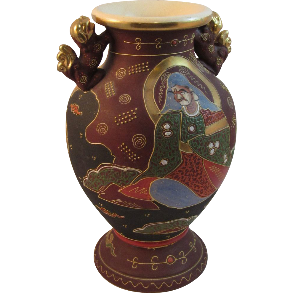 Large Japanese Moriage Satsuma Vase with 2 Handles