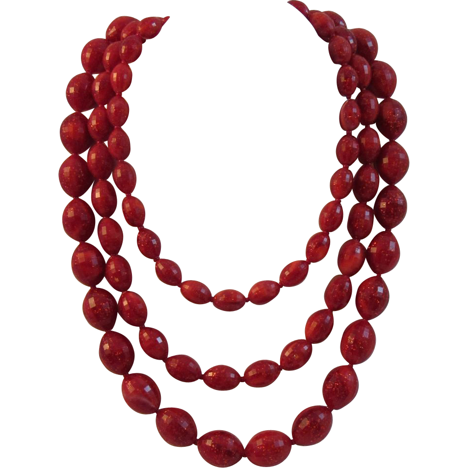 Vintage Red Sparkle Bead Chunky Three Strand Necklace