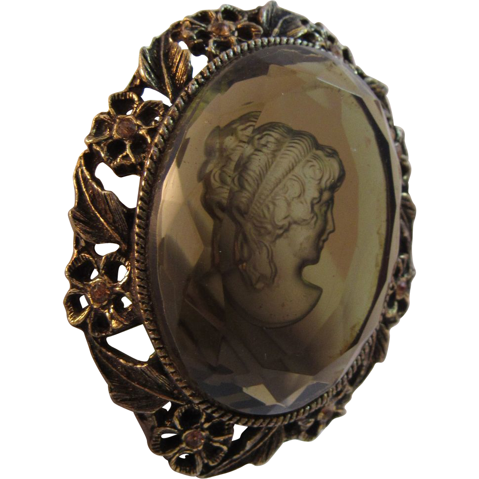 Vintage Intaglio Glass Cameo Pin or Pendant