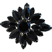 Stunning Vintage Jet Black Glass Stone Pin