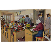 Alfred Mainzer Dressed Cats Postcard Max Kunzli Illustrated Zurich, Switzerland in School Room